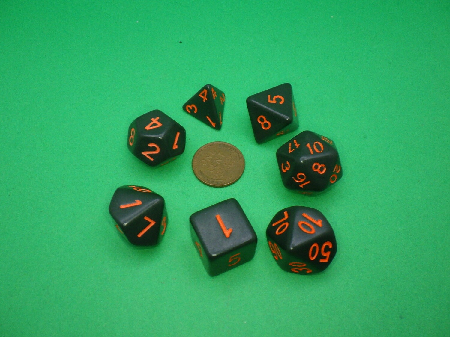 16mm 7 Die Polyhedral Set - Black With Orange Paint - RPG Tabletop Games Roleplay Cards CCG Board Random Roll Decision