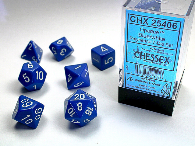 7 Die Dice Polyhedral Set - Chessex Opaque Blue with White - RPG Tabletop