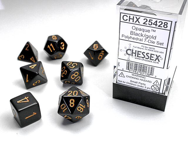 7 Die Dice Polyhedral Set - Chessex Opaque Black with Gold - RPG Tabletop
