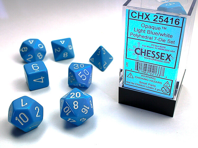7 Die Dice Polyhedral Set - Chessex Opaque Light Blue with White - RPG Tabletop
