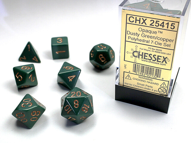 7 Die Dice Polyhedral Set - Chessex Opaque Dusty Green with Copper- RPG Tabletop