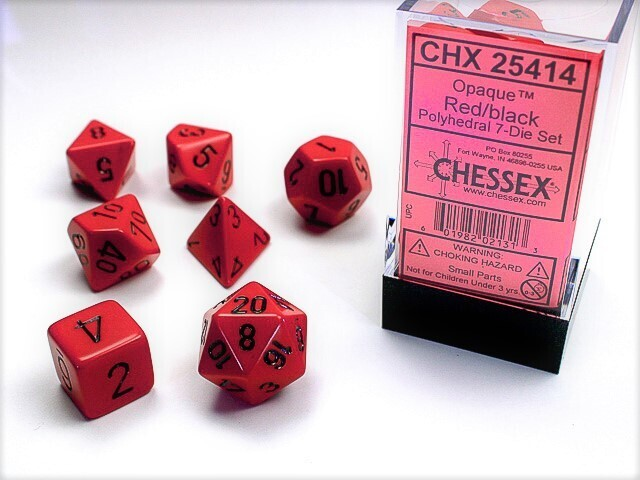 7 Die Dice Polyhedral Set - Chessex Opaque Red with Black - RPG Tabletop