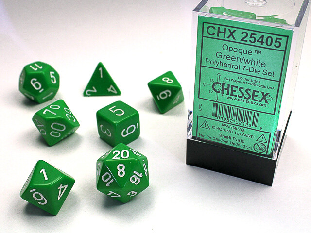 7 Die Dice Polyhedral Set - Chessex Opaque Green with White - RPG Tabletop