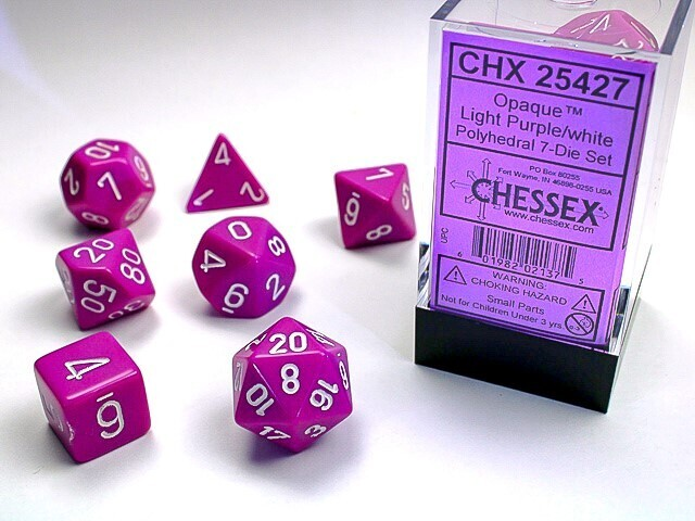 7 Die Dice Polyhedral Set - Chessex Opaque Light Purple with White -RPG Tabletop