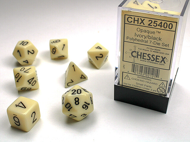 7 Die Dice Polyhedral Set - Chessex Opaque Ivory with Black RPG Tabletop Games