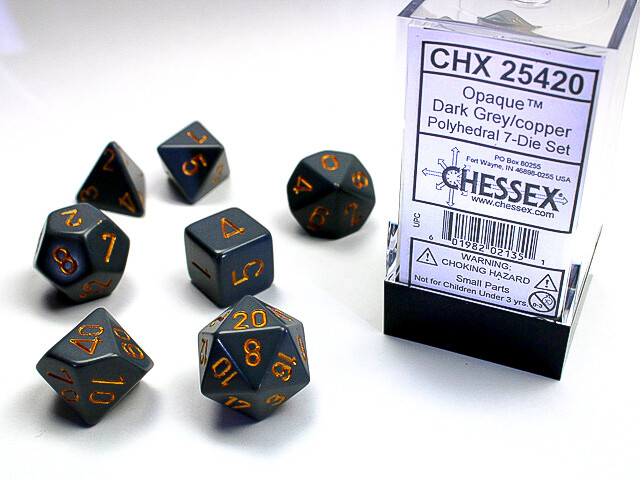 7 Die Dice Polyhedral Set - Chessex Opaque Dark Grey with Copper Tabletop RPG