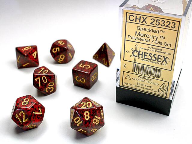7 Die Dice Polyhedral Set - Chessex Speckled Mercury RPG Tabletop Games Roleplay