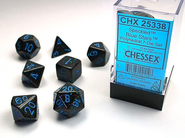 7 Die Dice Polyhedral Set - Chessex Speckled Blue Stars - RPG Tabletop Games
