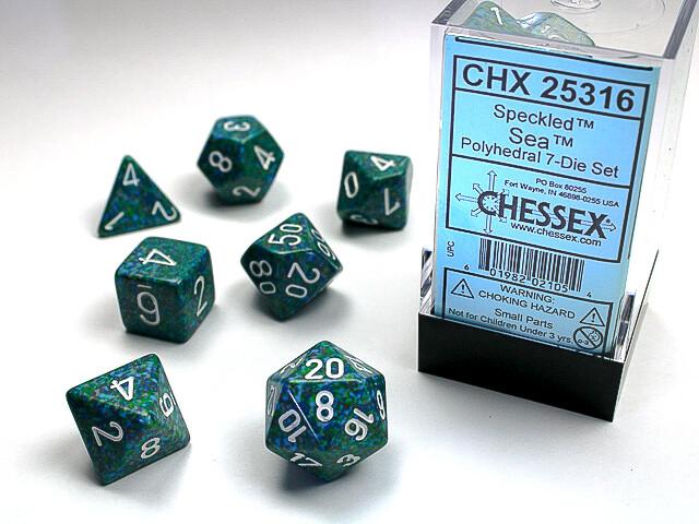 7 Die Dice Polyhedral Set - Chessex Speckled Sea - RPG Tabletop Games