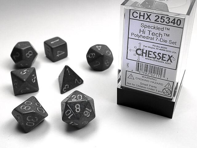7 Die Dice Polyhedral Set - Chessex Speckled Hi Tech RPG Tabletop Games Roleplay