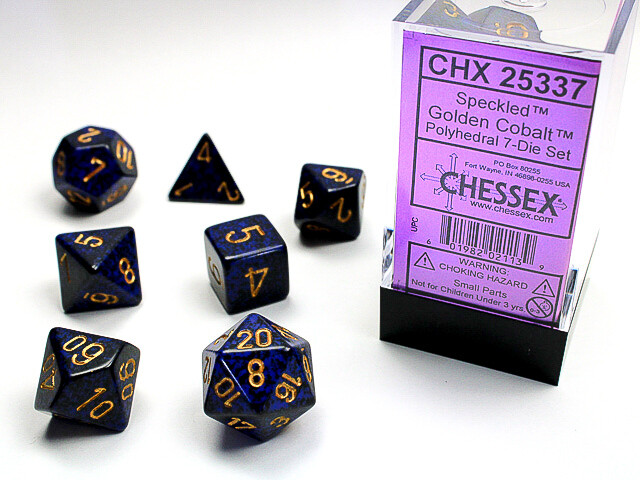 7 Die Dice Polyhedral Set - Chessex Speckled Golden Cobalt RPG Tabletop Games