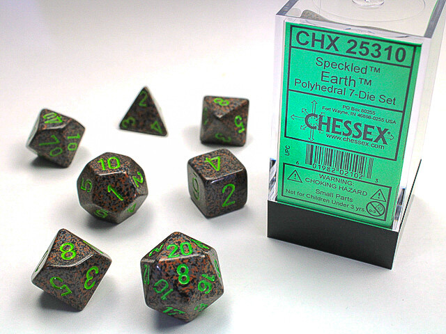 7 Die Dice Polyhedral Set - Chessex Speckled Earth RPG Tabletop Games