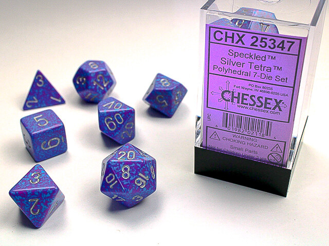 7 Die Dice Polyhedral Set - Chessex Speckled Silver Tetra RPG Tabletop Games