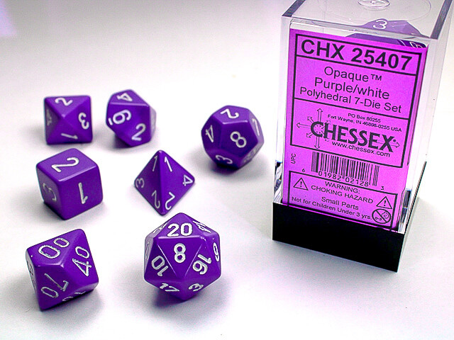 7 Die Dice Polyhedral Set - Chessex Opaque Purple with White RPG Tabletop Games