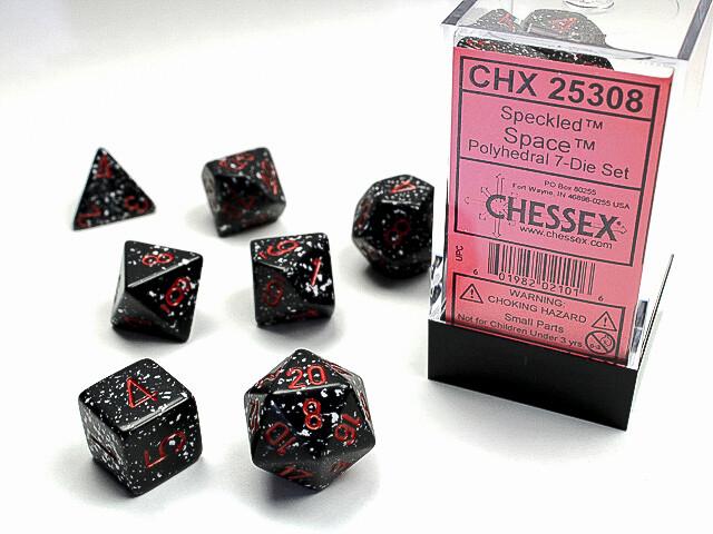 7 Die Dice Polyhedral Set - Chessex Speckled Space - RPG Tabletop Games