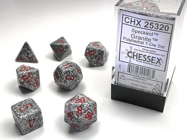 7 Die Dice Polyhedral Set - Chessex Speckled Granite RPG Tabletop Games Roleplay