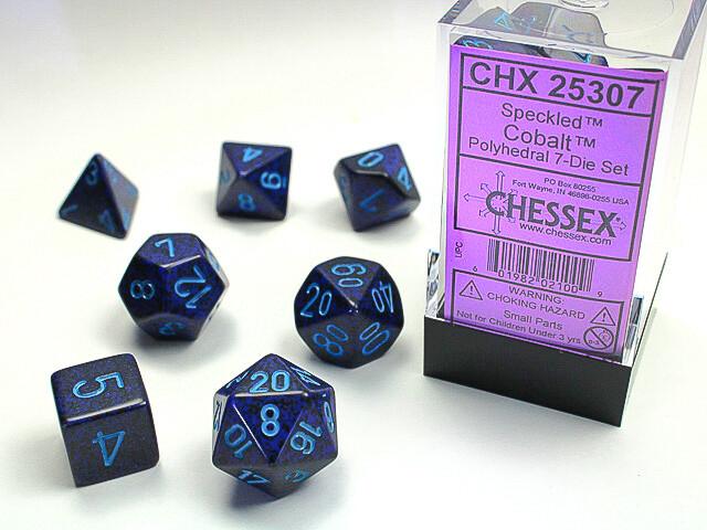 7 Die Dice Polyhedral Set - Chessex Speckled Cobalt - RPG Tabletop Games