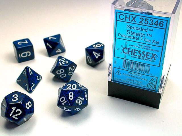 7 Die Dice Polyhedral Set - Chessex Speckled Stealth - RPG Tabletop Games