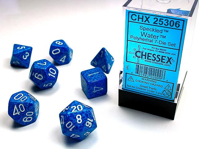 7 Die Dice Polyhedral Set - Chessex Speckled Water - RPG Tabletop Games
