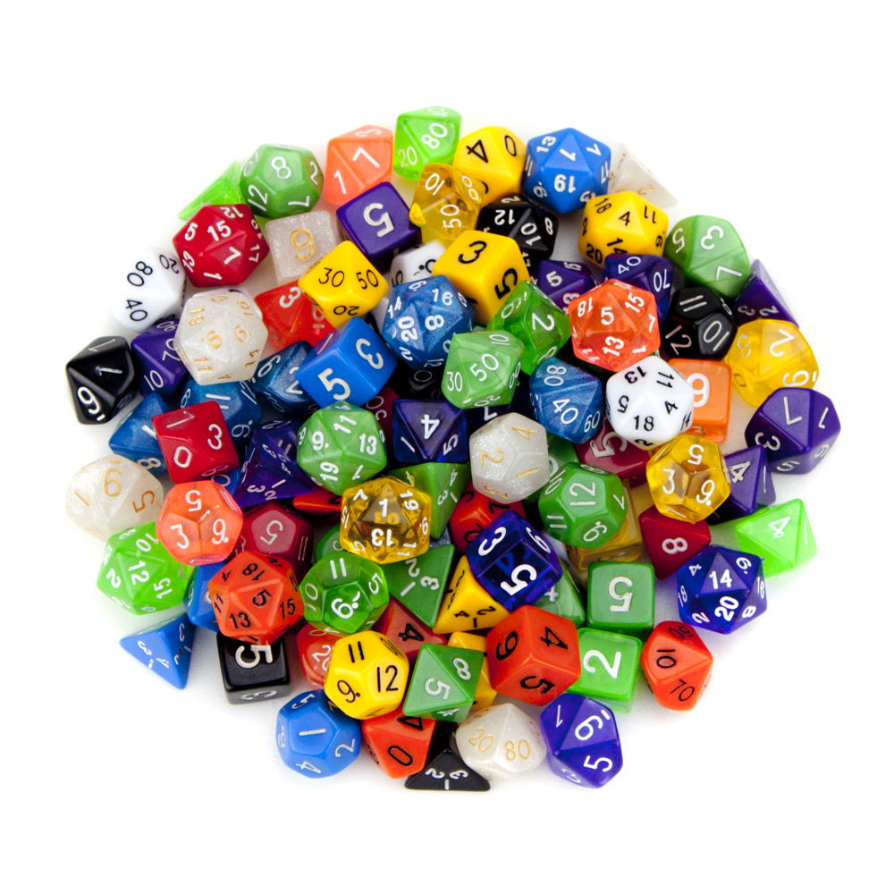 Drawstring Bag full of random Dice (12-20 depending on mix)