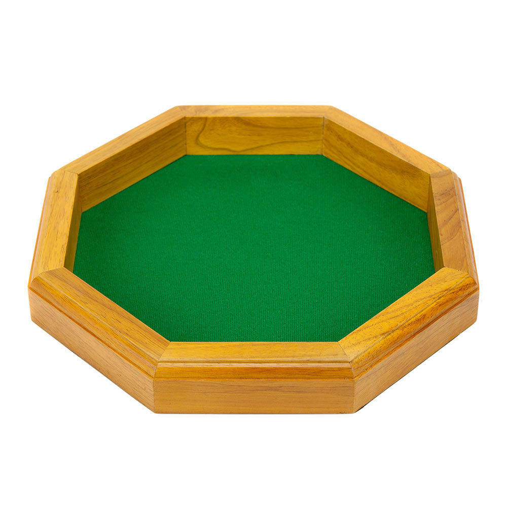 12 in Wooden Octagonal Dice Tray Tabletop RPG Gaming Poker