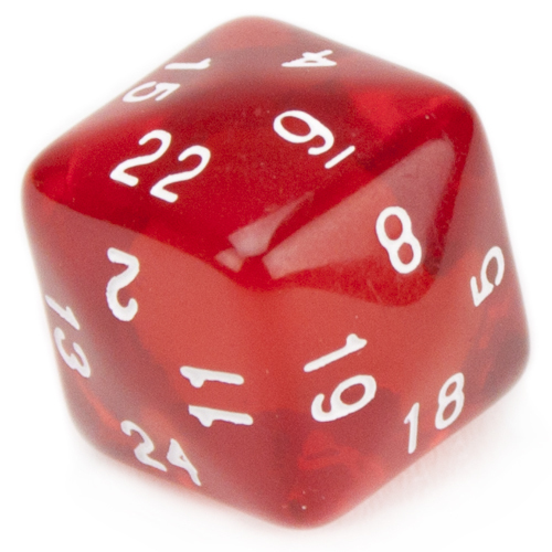 24 Sided Translucent Red with White Numbers Polyhedral Dice D24