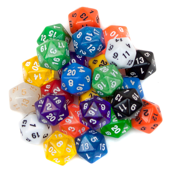 25 Pack of Random D20 Polyhedral Dice in Multiple Colors