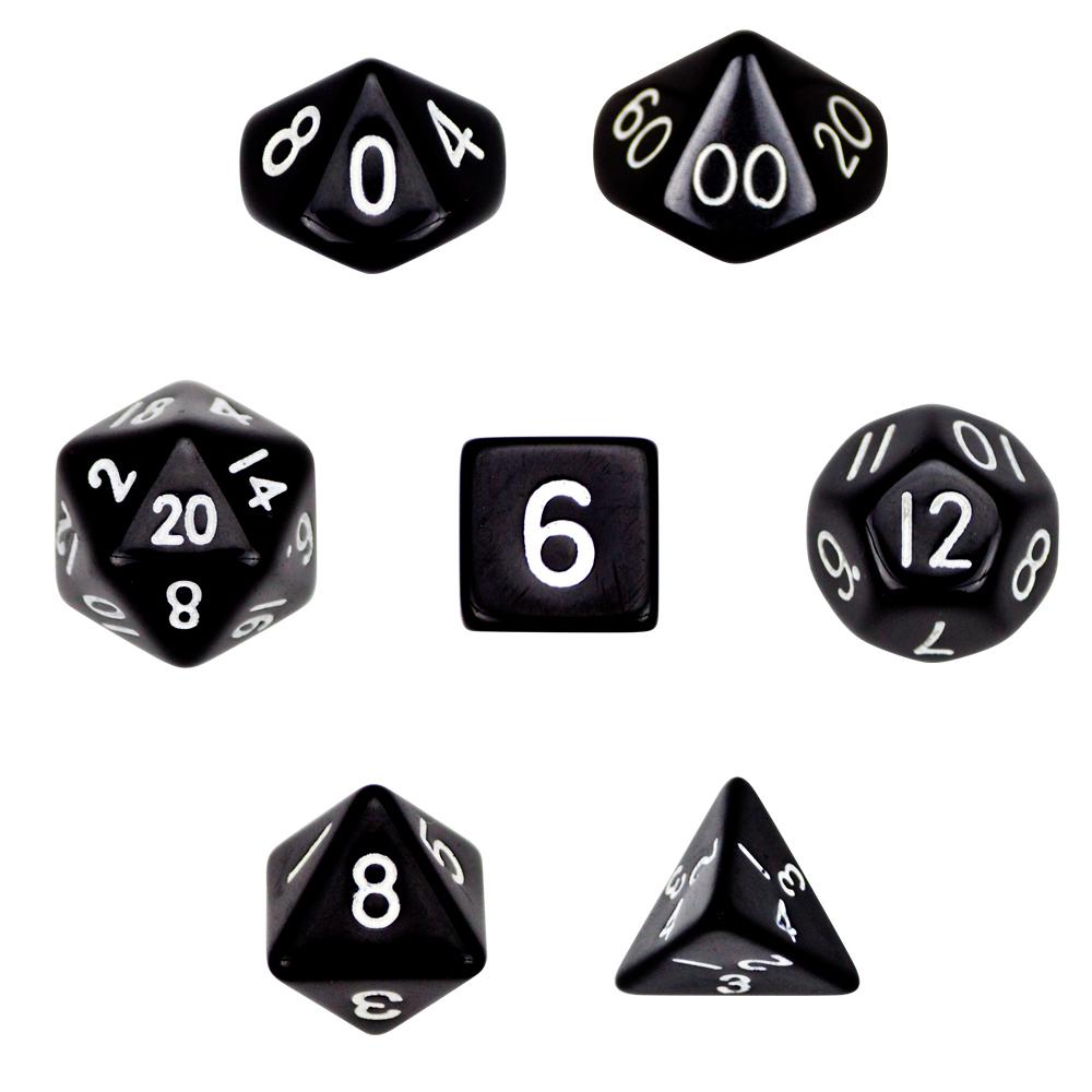 7 Die Polyhedral Dice Set- Opaque Black