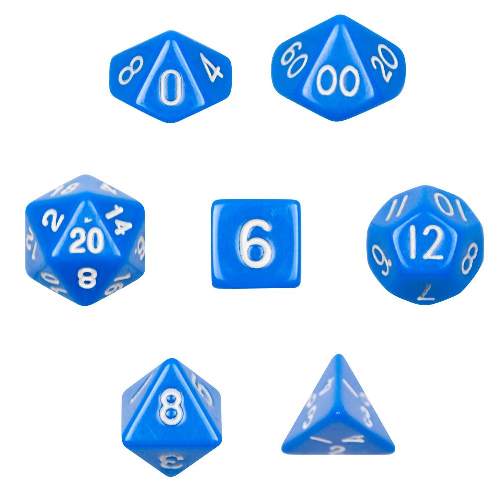 7 Die Polyhedral Dice Set - Opaque Blue