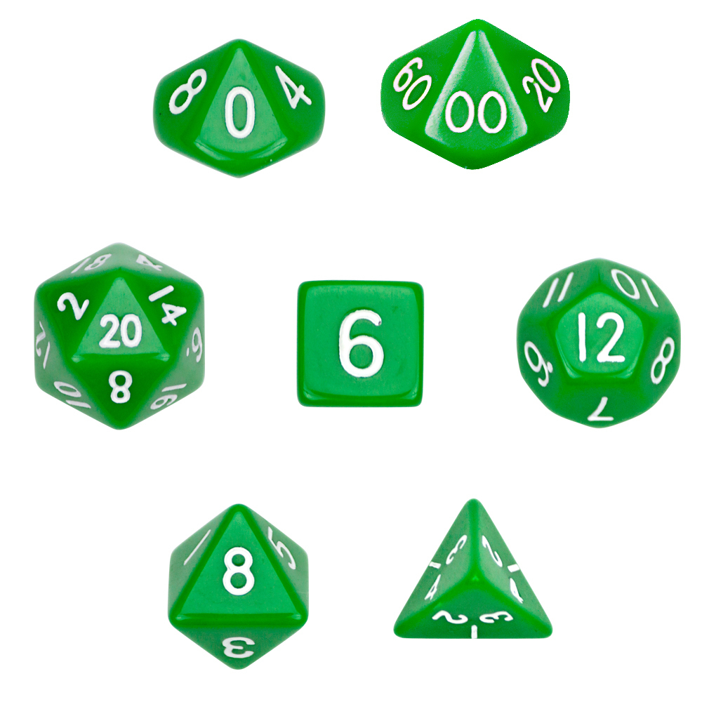 16mm 7 Dice Polyhedral Dice Set - Opaque Green