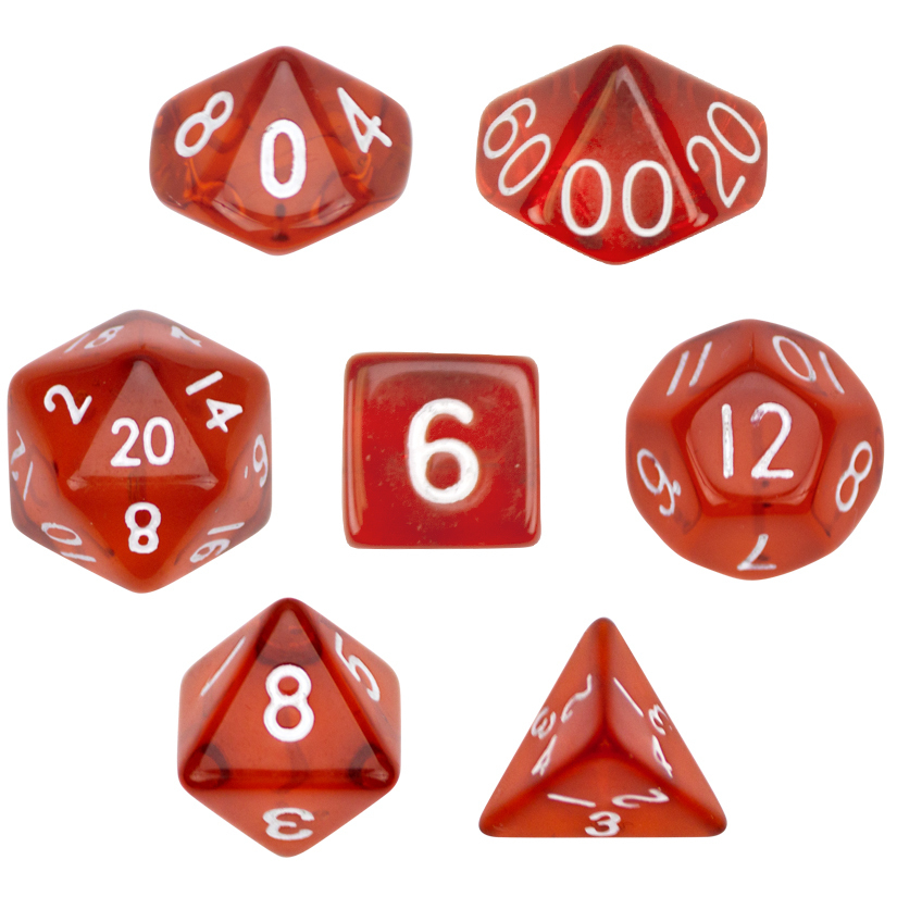 7 Die Polyhedral Dice Set Translucent Red 16mm