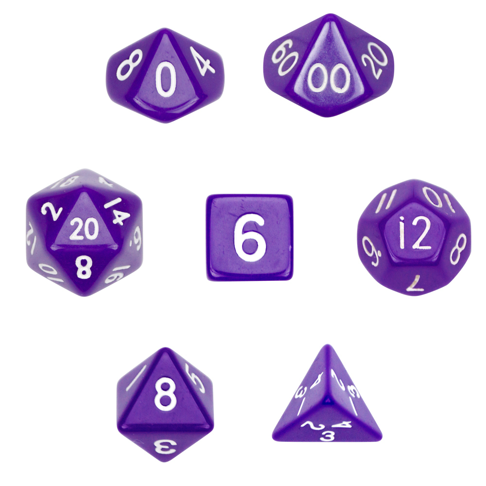 7 Die Polyhedral Dice Set-Opaque Purple