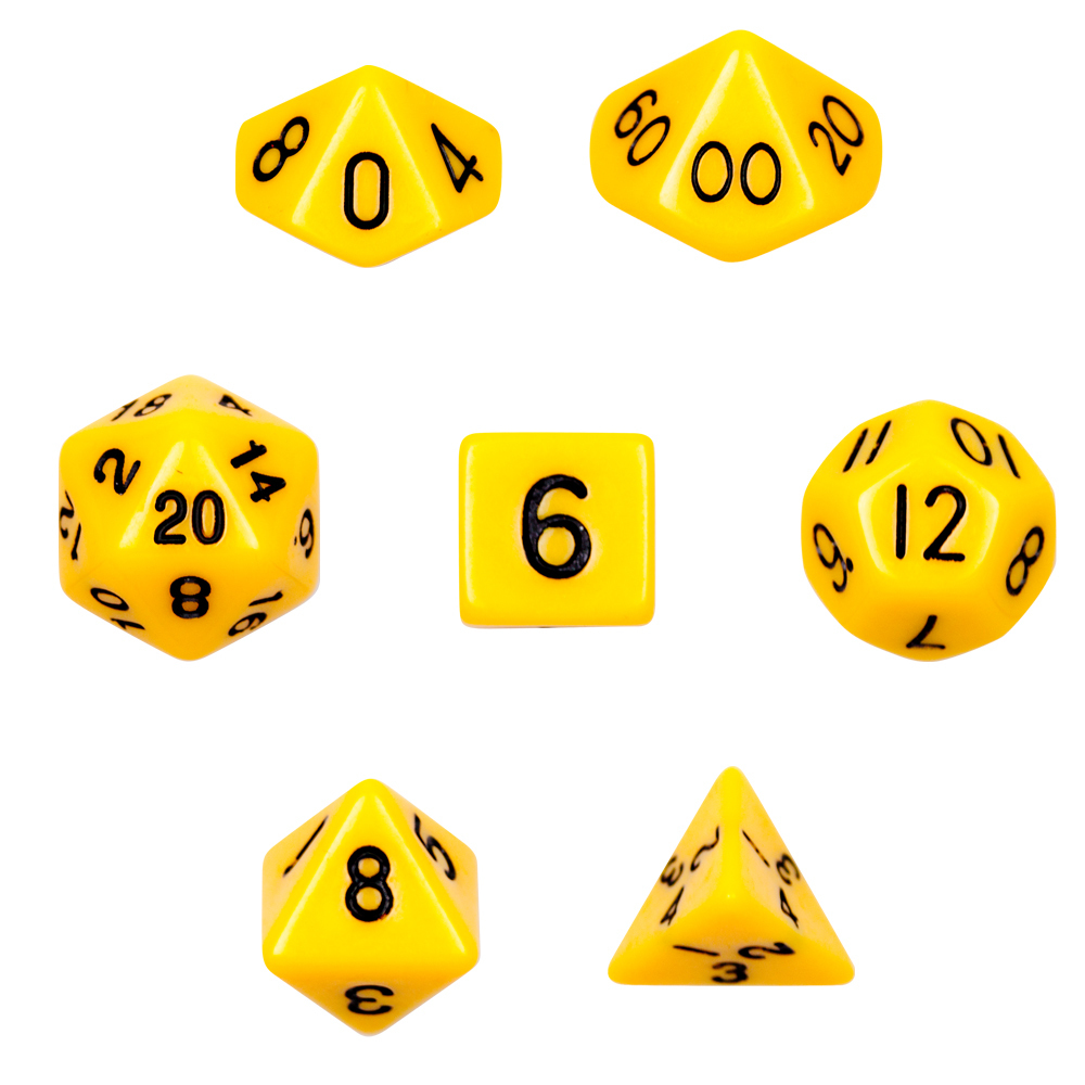 16mm 7 Dice Polyhedral Dice Set - Opaque Yellow