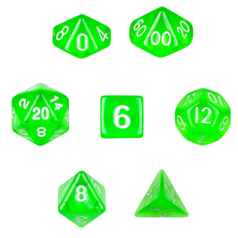 7 Die Polyhedral Dice Set- Translucent Green