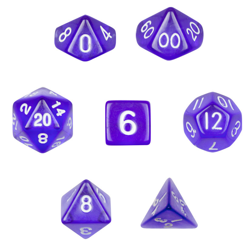 7 Die Polyhedral Dice Set - Translucent Purple