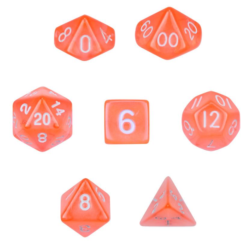 7 Die Polyhedral Set  Translucent Orange