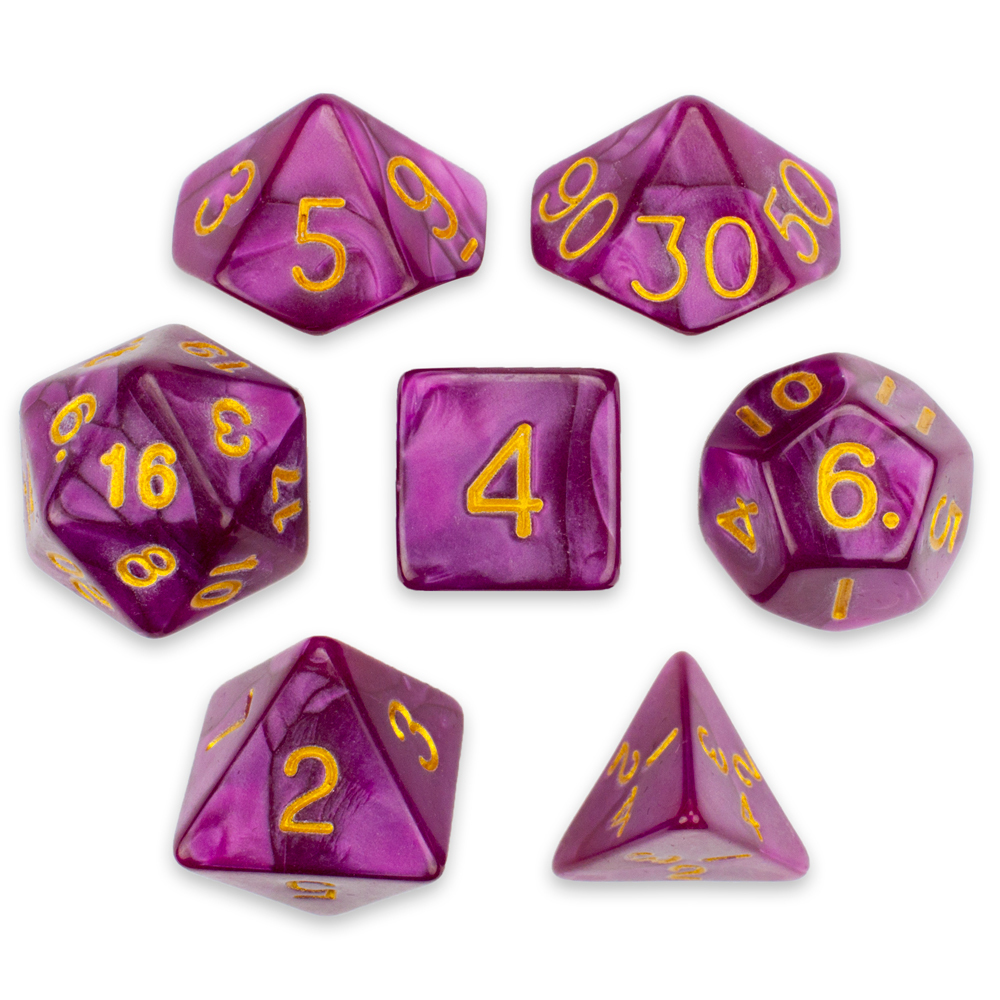 16mm 7 Die Polyhedral Dice Set- Abyssal Mist