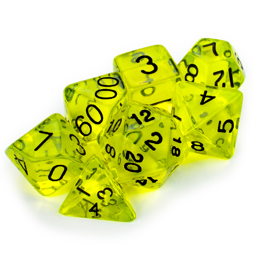 16mm 7 Dice Polyhedral Set, Boiled Bile