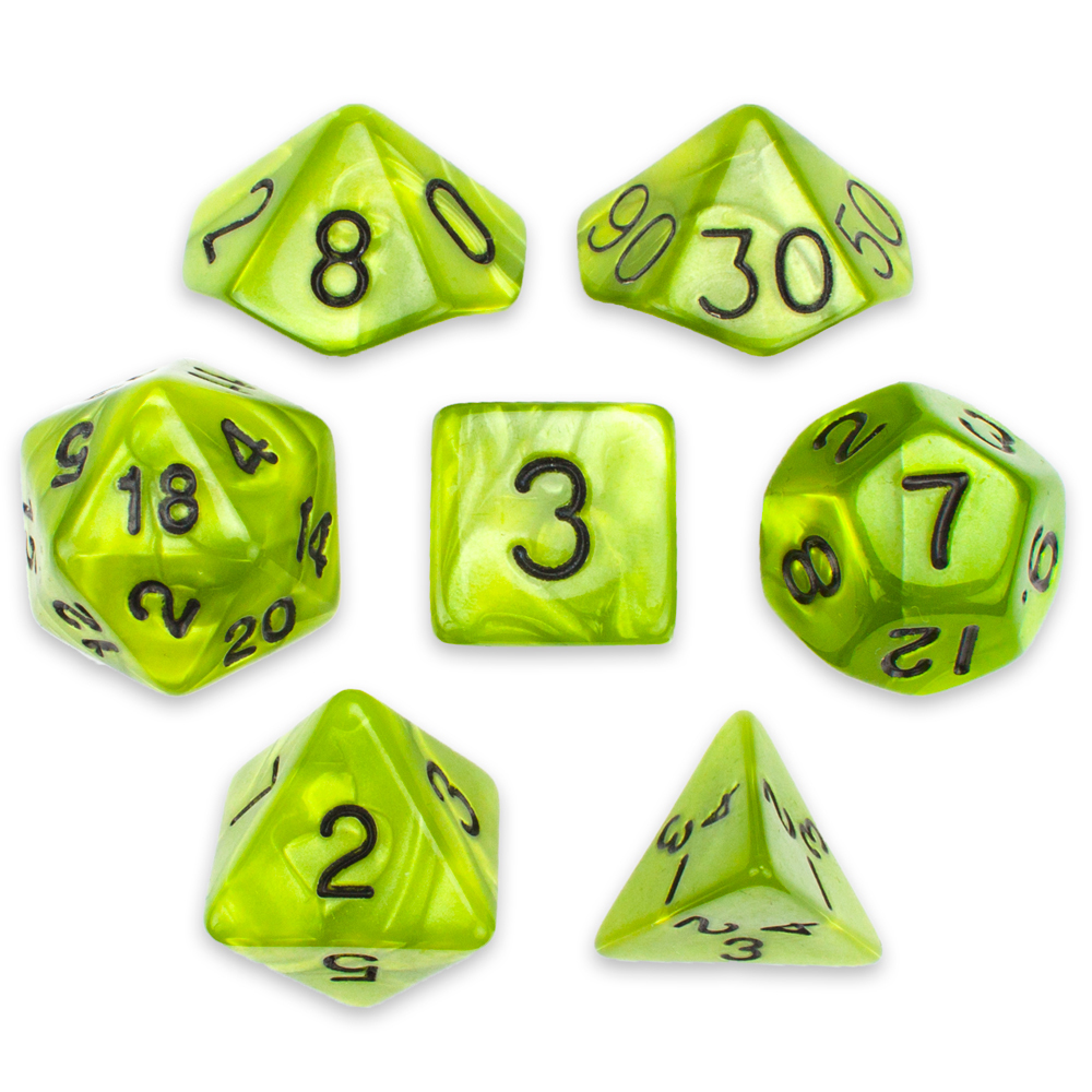 16mm 7 Dice Polyhedral Dice Set, Swamp Ooze