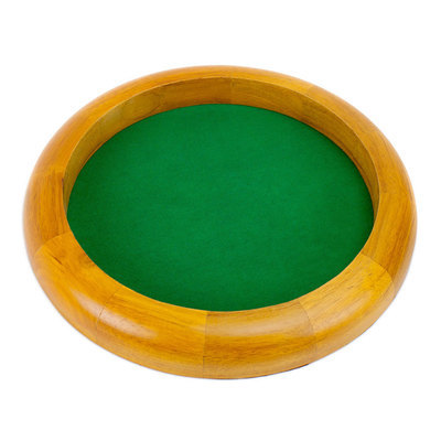 12 in Wooden Circular Dice Tray Tabletop RPG Gaming Poker CCG