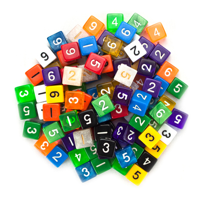 100+ Pack of Random D6 Polyhedral Dice in Multiple Colors