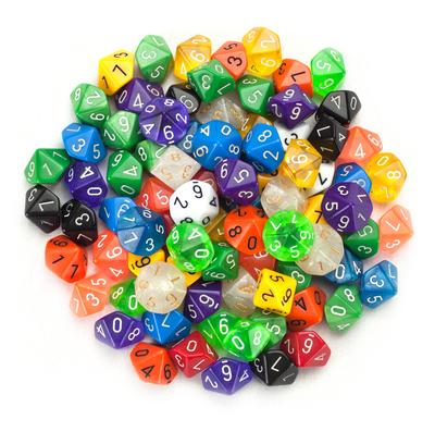 100+ Pack of Random D10 (00) Dice in Multiple Colors