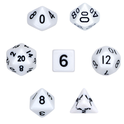 16mm 7 Dice Polyhedral Dice Set - Opaque White