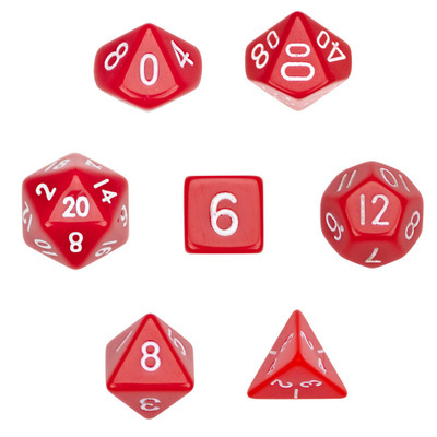 7 Dice Polyhedral Dice Set - Opaque Red