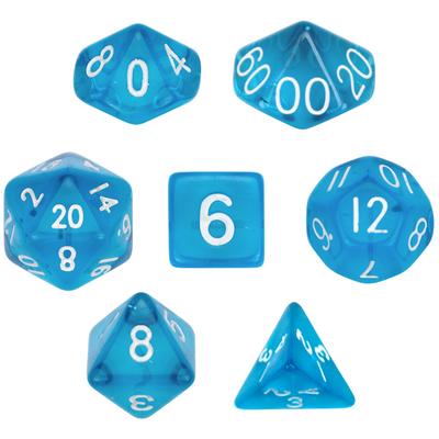 16mm 7 Die Polyhedral Dice Set - Translucent Blue