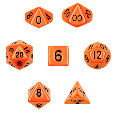 7 Die Polyhedral Dice Set - Opaque Orange