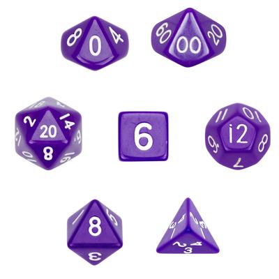 7 Die Polyhedral Dice Set-Opaque Purple
