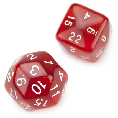 Set of 24 and 30 Sided Translucent Red Polyhedral Dice
