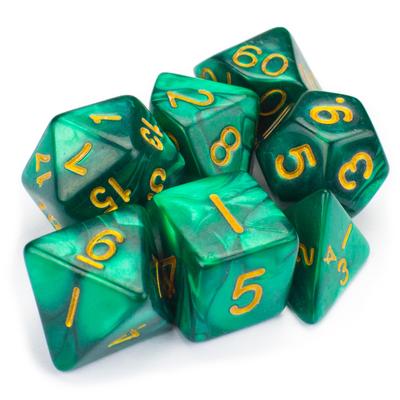 16MM 7 Die Polyhedral Set Basilisk Blood - Dark, Insidious Teal