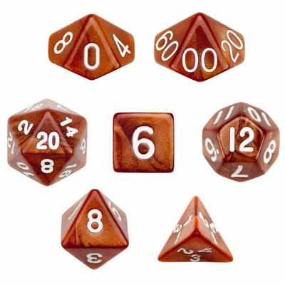 16mm 7 Dice Polyhedral Dice Set - Copper Sands